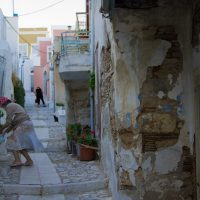 Women at streets of Ano Syra, Syros, Greece, 2012