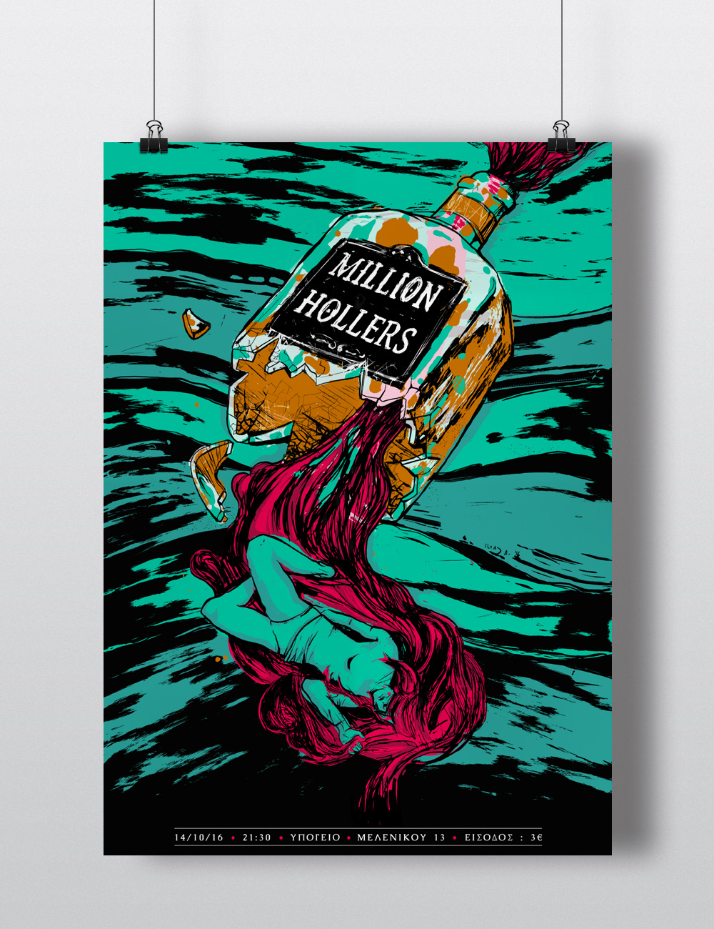 Million Hollers live at Ypogeio, Thessaloniki poster illustration and layout.