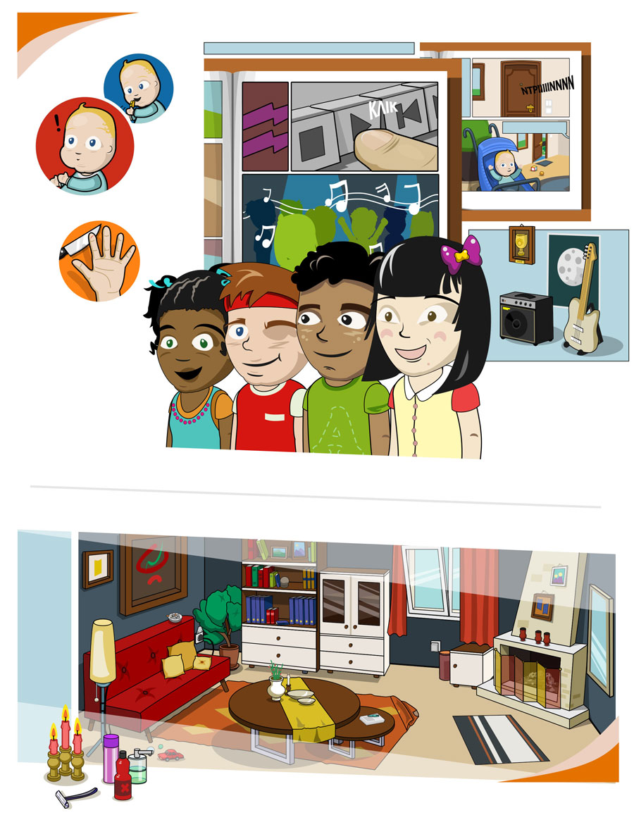 Safety at Home, Ασφάλεια στο Σπίτι, Educational Game for Titan Cement Group, vector game art and graphics